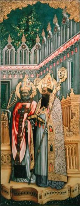 St. Ambrose and St. Augustine, right panel from The Virgin Enthroned with Saints Jerome, Gregory, Am