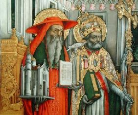 St. Jerome and St. Gregory, detail of left panel from The Virgin Enthroned with Saints Jerome, Grego