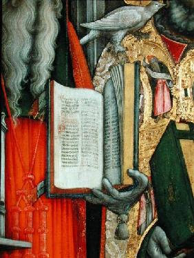 St. Jerome's Bible and St. Gregory's Dove, detail of the left panel from The Virgin Enthroned with S