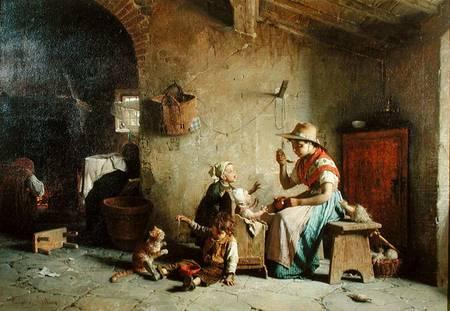 Chierici Gaetano Feeding The Lambs artista quadro dipinto olio su tela a mano