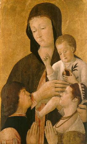 Madonna with child and two donors