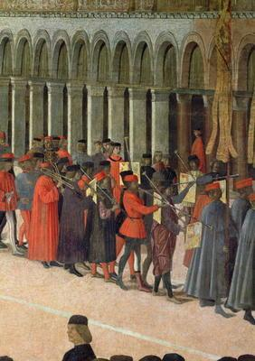 Musicians, detail from the Procession of the Cross in St. Mark's Square, 1496 (oil on canvas) (detai
