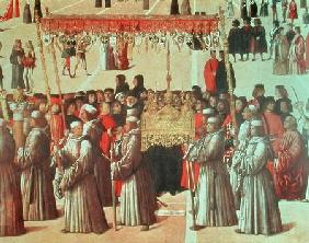 Procession in the St. Mark's Square, detail of the Basilica