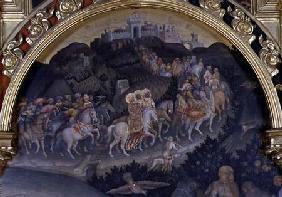The Adoration of the Magi, detail of procession in landscape