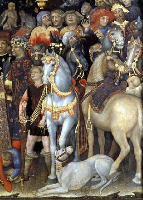 The Adoration of the Magi, detail of riders, horses and dog