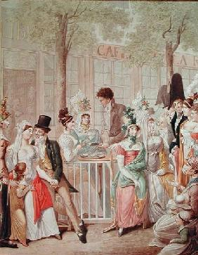 The Terrace of the Cafe de la Rotonde in 1814