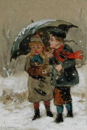 Children Playing in the Snow (w/c heightened with white on paper)