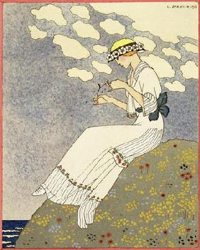 Un Peu..., design for a country dress by Paquin, 1913 (colour litho)