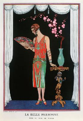 Worth evening dress, fashion plate from Gazette du Bon Ton, 1925 (litho)