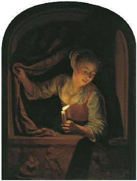 Woman with a lighted Candle at a Window