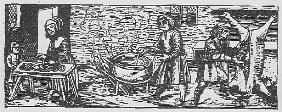 Interior of a Kitchen, from ''Calendarium Romanum'' Jean Staeffler, printed Tubingen, Germany