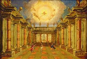 Act II, scene X: the courtyard of the King of Naxos