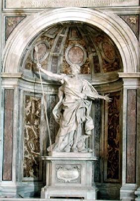 Statue of St. Longinus, at the base of the four pillars supporting the dome
