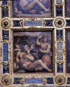 Allegory of the town of Prato from the ceiling of the Salone dei Cinquecento