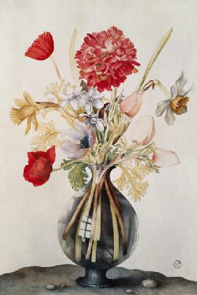 Vase of Flowers with Daffodils, Carnations and Anemones