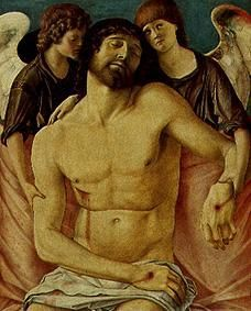 the dead christ supported by two Giovanni bellini (venice, 1433-1516)  dead christ supported by two angels, 1460, tempera on table, correr museum, venice.