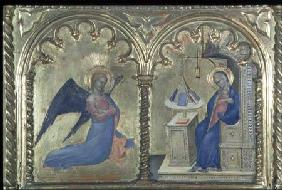 The Annunciation, detail from a polytych depicting The Lives of the Saints, from the Salone del II P
