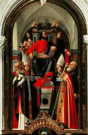 Saint Mark enthroned surrounded by Saints