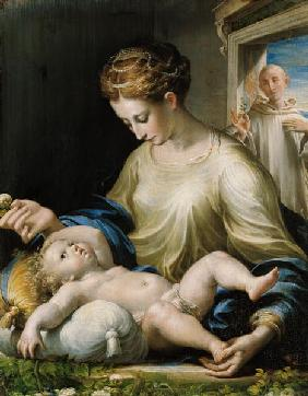Maria with the child and St. Bruno.