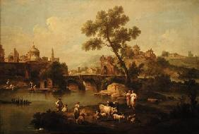 Pastoral Landscape with a River
