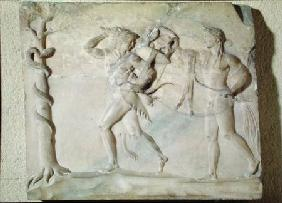 Tablet depicting Hercules carrying off the Delphic Tripod in front of Apollo