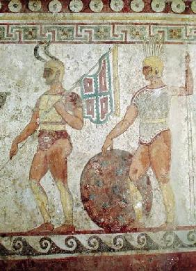 Foot soldiers, tomb painting from Paestum
