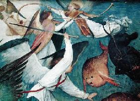 The Fall of the Rebel Angels, detail of angels fighting and playing music