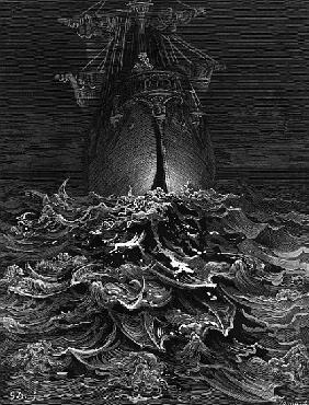 The Mariner gazes on the ocean and laments his survival while all his fellow sailors have died, scen