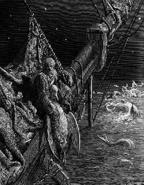 The Mariner gazes on the serpents in the ocean, scene from ''The Rime of the Ancient Mariner'' S.T.