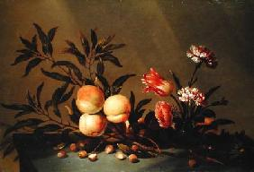 Still Life of Peaches and flowers