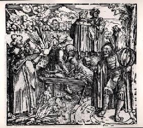 Scenes of divination, including haruspication, pyromancy and necromancy (engraving) (b/w photo)