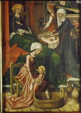 Birth Mariae Weingartner altar in the cathedral to Augsburg detail the first bath.