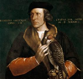 Portrait Robert Chaseman with hunting falcons