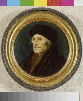 Portrait of the Erasmus of Rotterdam in it round.