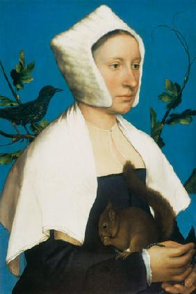 Lady with a Squirrel and a Starling