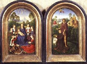 Diptych of Jean du Cellier: The Virgin and Child with Saints and the donor presented by St.John the
