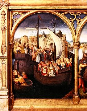 The Departure of Saint Ursula from Basle, panel from The Reliquary of St. Ursula, 1489 (detail of 18