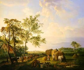 Landscape with hay harvest and cattle herd