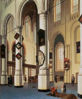 Inside of the Oude Kerk in Delft during the opening of a grave