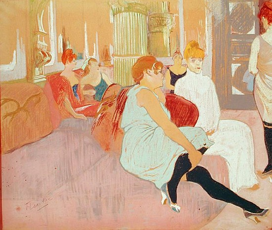 In the salon at the rue des moulins henri de toulouse - Toulouse lautrec au salon de la rue des moulins ...