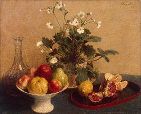 Flowers, Dish with Fruit and Carafe