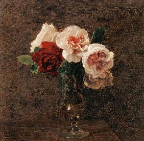 Still Life of Pink and Red Roses
