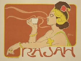 Reproduction of a poster advertising the 'Cafe Rajah'