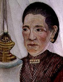 Portrait of the second wife of the artist with the lamp