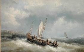 A Lugger Entering Harbour in a Storm
