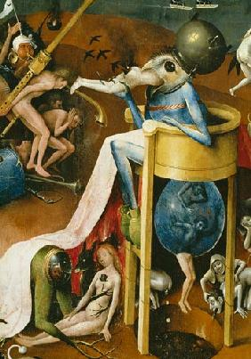 The Garden of Earthly Delights: Hell, right wing of triptych, detail of blue bird-man on a stool