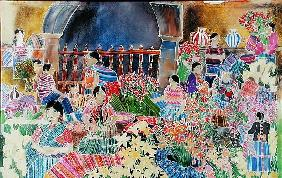 Chichicastango, Market Day (coloured inks on silk)