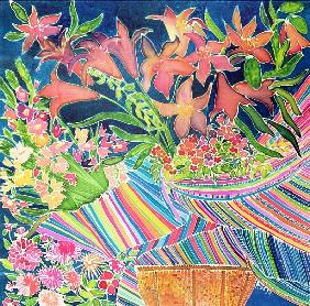 Guatemalan Lilies, Absolutely Fabulous Set, 1994 (coloured inks on silk)