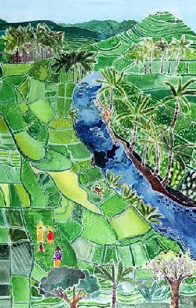 River Agung, Bali, 1996 (coloured inks on silk)