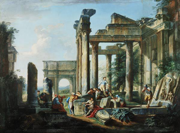 Leisure time of the soldiers in the midst of Roman ruins